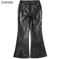 Women 2018 Real Leather Pants Black Sheepskin Flare Pants Vintage Streetwear Classic Ladies Trousers Genuine Leather Women Pants