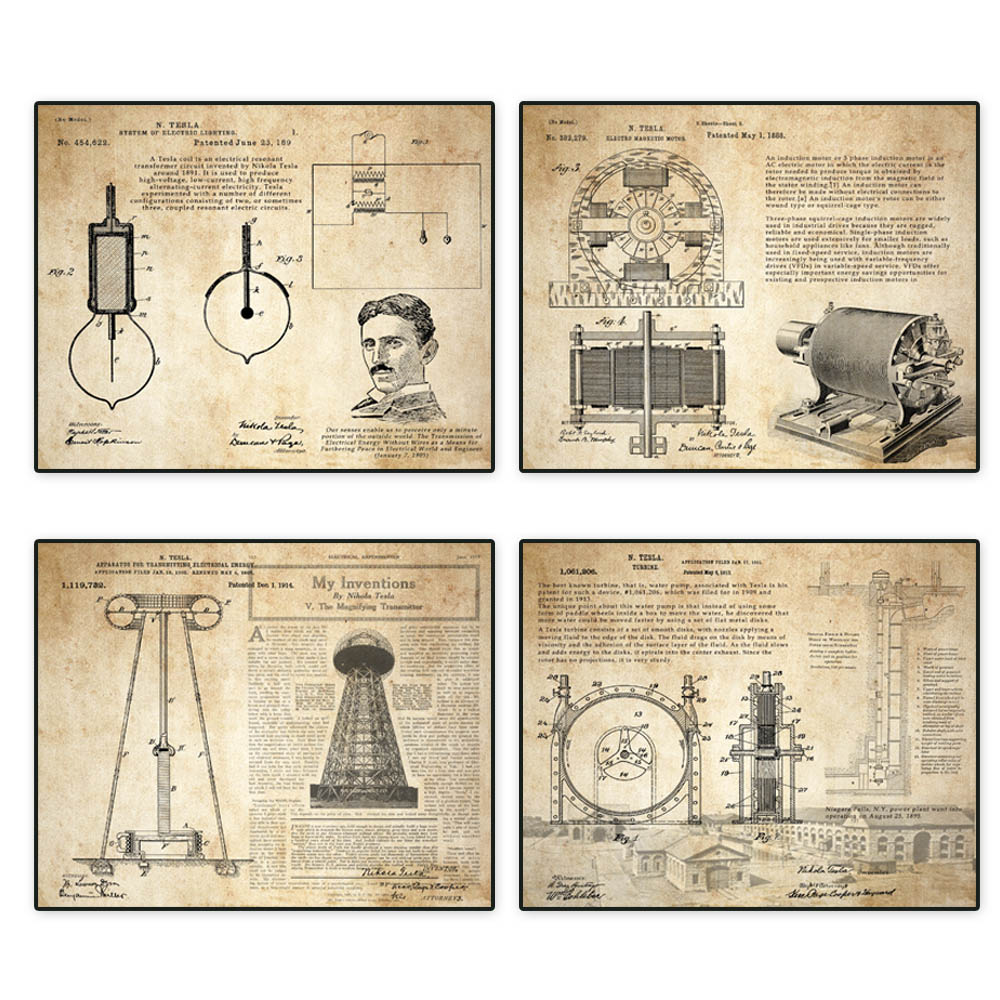 Vintage patent art prints 4 in 1 on Nikola Tesla coil turbine lamp tower patent parchment paper style unframed in Painting Calligraphy from Home Garden