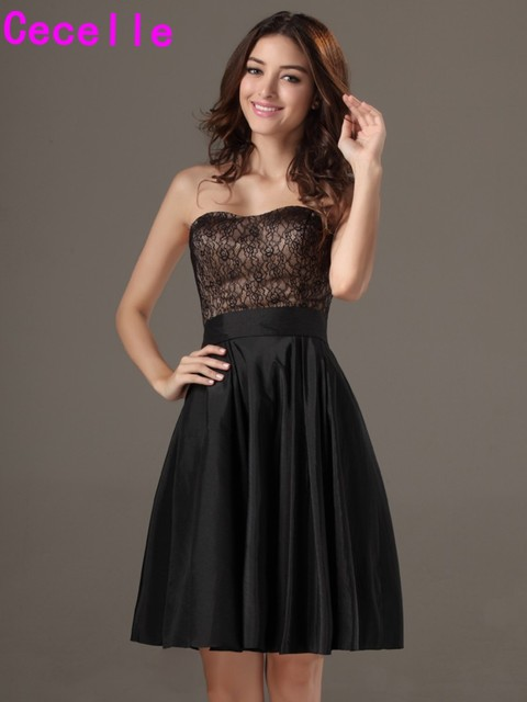 Black A Line Strapless Lace Taffeta Country Bridesmaid Dresses Plus