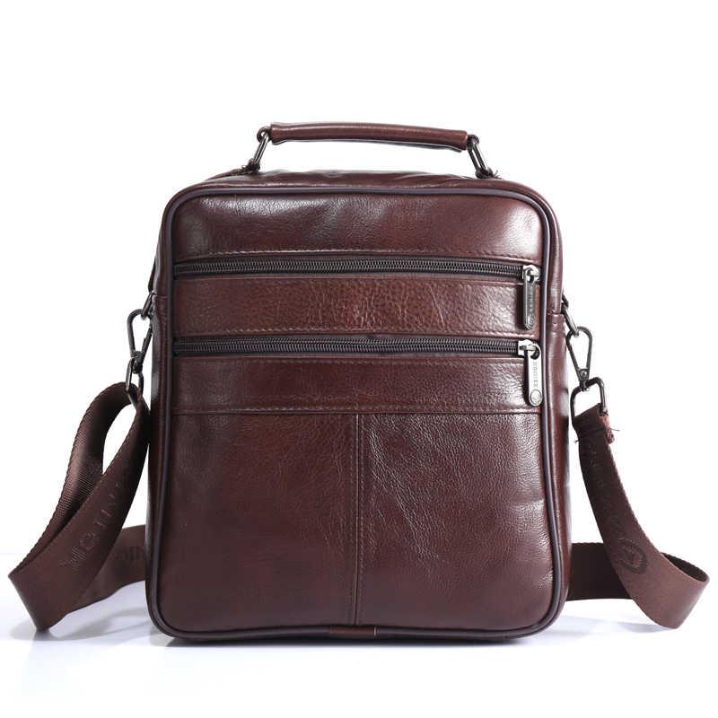 bf17ebed8922 ... ZZNICK для мужчин 100% Натуральная воловья кожа Сумка, качество  курьерские сумки повседневные сумки через ...