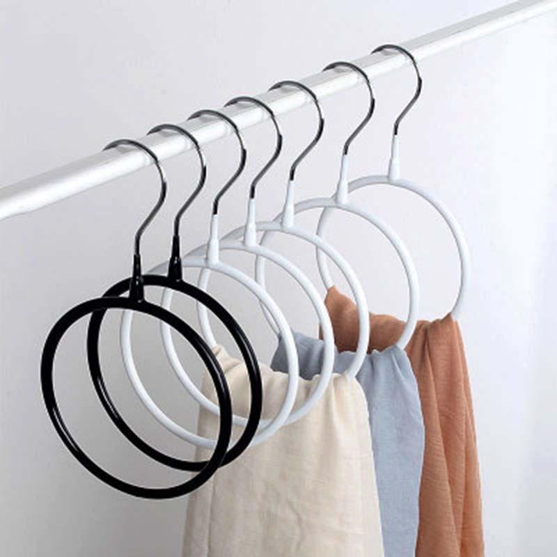 PVC Multifunctional Clothes Hanger Silk Scarf Storage Rack Shelf Toroidal Hanger Rack Tie Garment Towel Holder 1PC