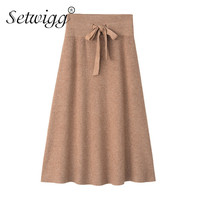 Winter Thickening Rabbit Hair Cashmere Blend Waist Bowk A line Knitted Long Skirts Warm Solid Sashes Rib Knit Ankle Long Skirts