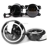 Automobiles External Light Car Styling Projector H4 7 LED Headlight Daymaker 4 Fog Light Kit For