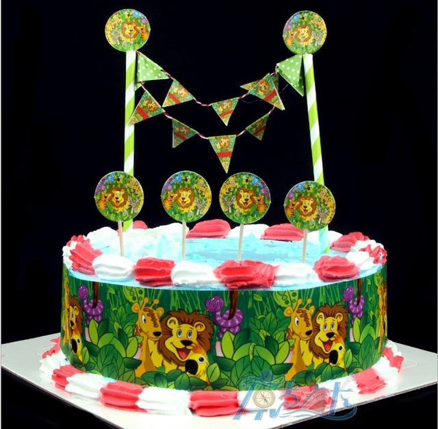 The lion king cake paper flag, surrounding edge Cake ...