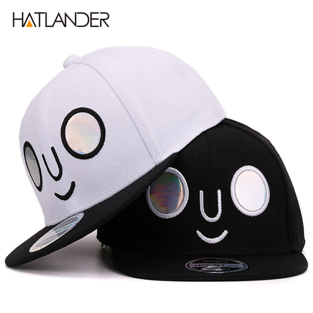 b7a6cf3920f HATLANDER 2017 novelty kids baseball caps for boys girls flat brim bones  snapbacks hats children smile face hip hop snapback cap