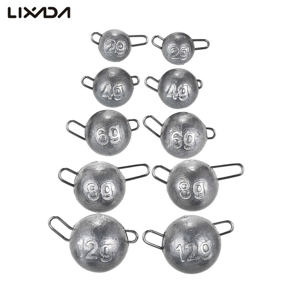 US $2 42 10% OFF|Lixada 10PCS/lot 2/4/6/12g Lead weight Fishing Lead Sinker  Mould Olive Shaped Middle Pass Split Lead Shot Sinkers Tackle Kits-in
