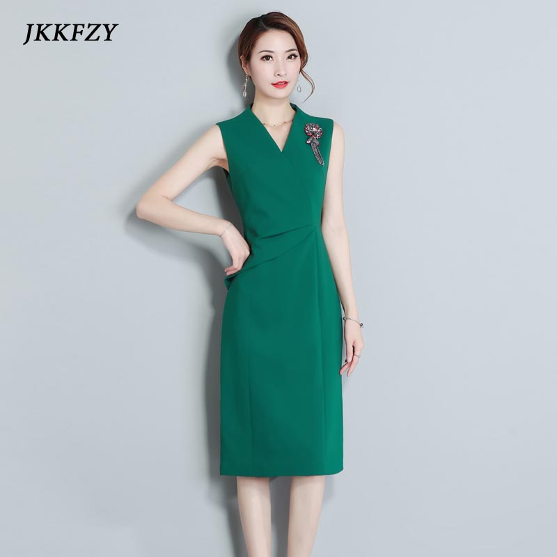 2019 Summer New Women Elegant Dress Feminine Black Green Tank Rivet Dress Ladies Party Buttocks Dress