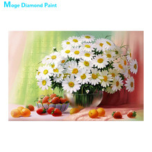white floral vase Moge Diamond Painting Full Round still life New DIY Sticking Drill Cross Embroidery 5D simple Home Decoration