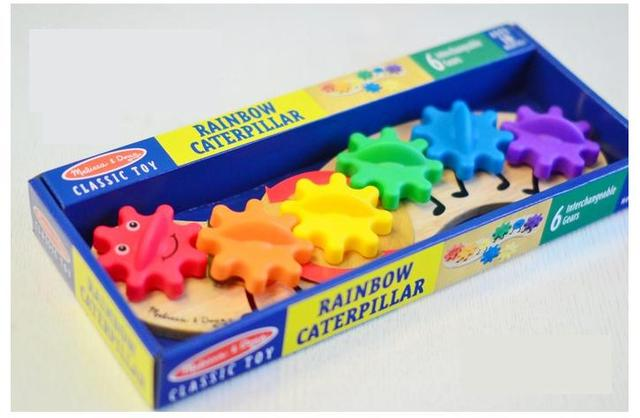 Children Brand wooden rainbow caterpillar with 6pcs interchangable gears/  Kids Child wood blocks for learning educational toys