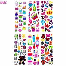 Girl Supplies Cosmetics Handbags High Heels Perfume Lipstick Scrapbooking Puffy Stickers 6 Sheets Kawaii Emoji Reward Kids Toys(China)