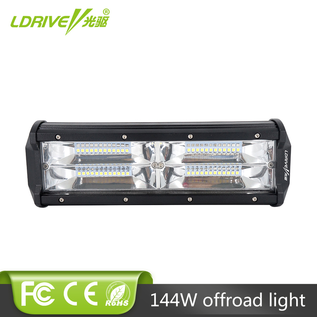 Ldrive 9 inch 144w led work light bar tri row car flood beam led ldrive 9 inch 144w led work light bar tri row car flood beam led driving aloadofball Images