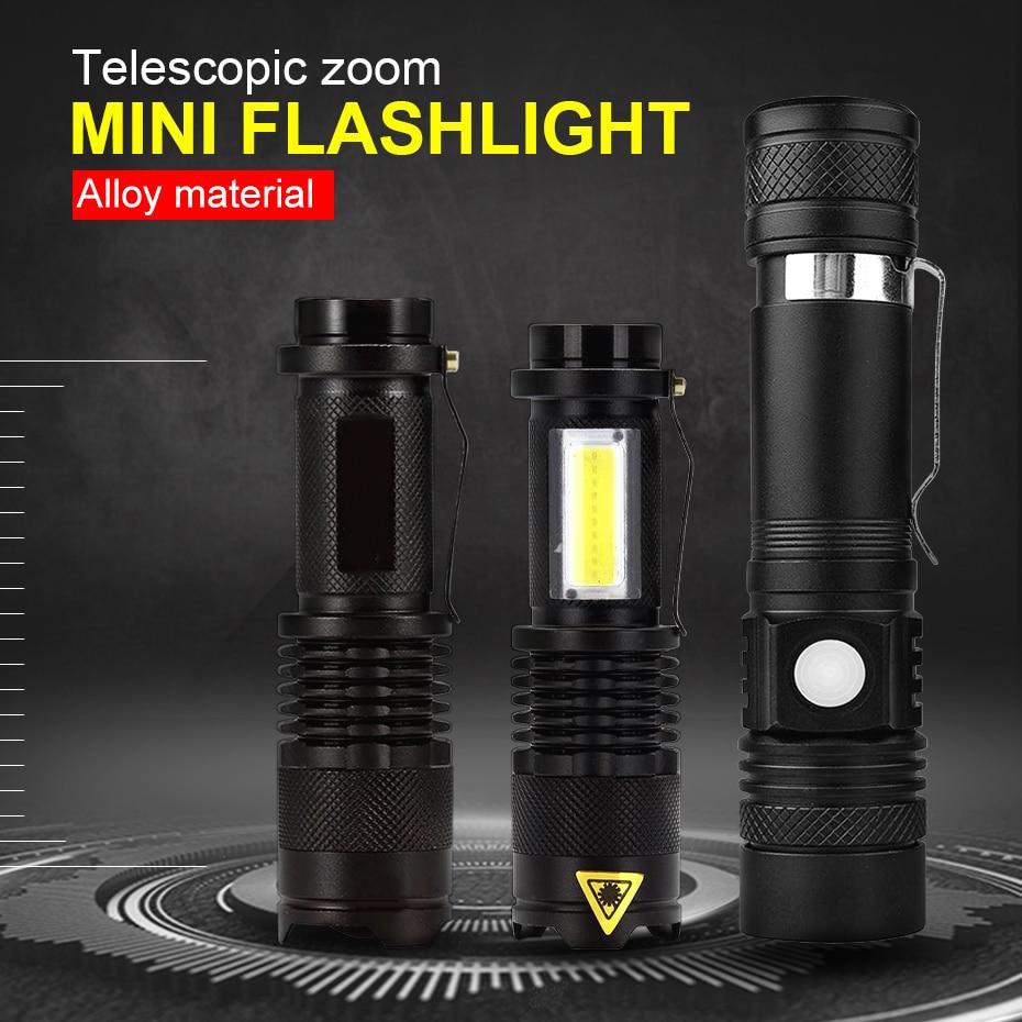 Mini LED Flashlight 2000LM Q5 LED Flashlight COB Torch AA/14500 Adjustable Zoom Focus Torch USB T6 Flashlight 18650 Penlight