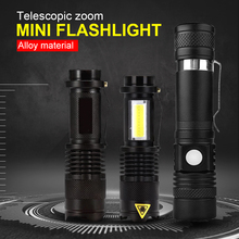 Mini LED Flashlight 2000LM Q5 LED Flashlight COB Torch AA/14500 Adjustable Zoom Focus Torch USB T6 Flashlight 18650 Penlight