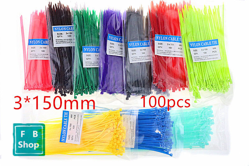 100pcs Colorful 3*150mm Width 2.5mm Factory Standard Self-locking Plastic Nylon Cable Ties,Wire Zip Tie