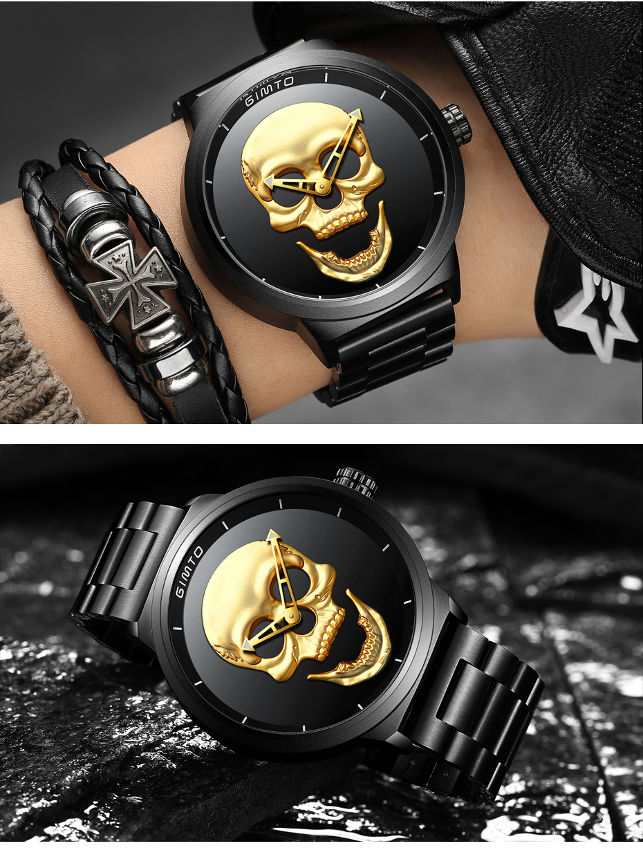 2018 Cool Punk 3D Skull Men Watch Brand GIMTO Luxury Steel Gold Black Vintage Quartz Male Watches sport clock Relogio Masculino 16