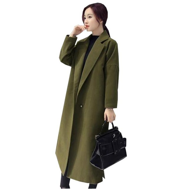 Over knee length woollen fashion Coat.  Green