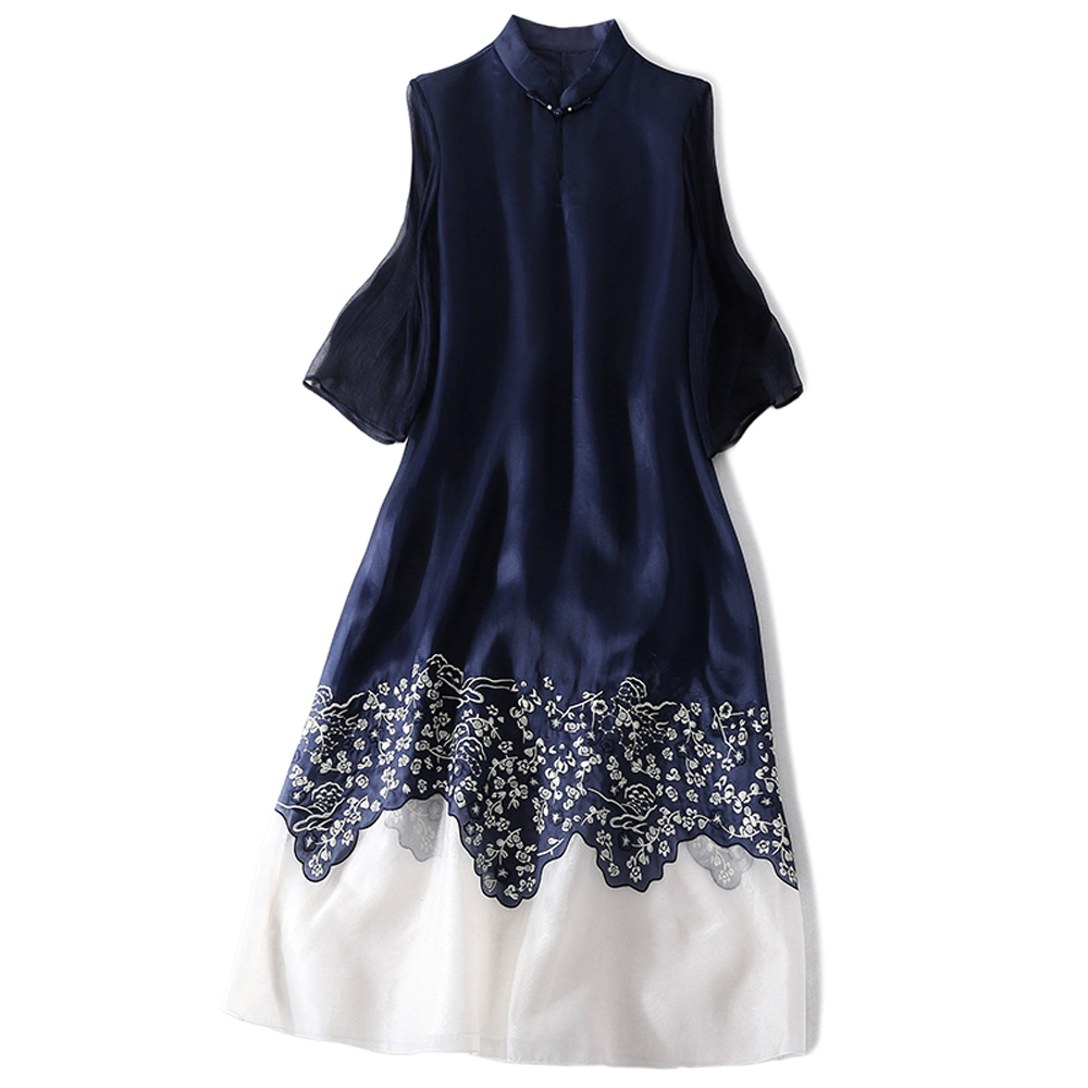 Sales Linen Silk Woman Dress Chinese Style Ankle-Length Stand Collar Three Quarter Sleeve Embroidery Female Summer Blue Dress chouchouchic summer children clothing girls dress party wear cotton three quarter sleeve chinese style qipao blue stripes