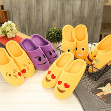a1b02b008cca Winter Indoor Expression Shoes Woman Warm Plush Home Slippers EVA Soft Sole  No Slip Floor Slipper