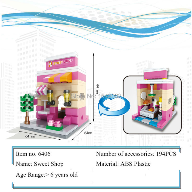 New City Series Mini Street Model Sweet Shop Building Blocks Toys for Kids Educational Birthday Christmas gifts