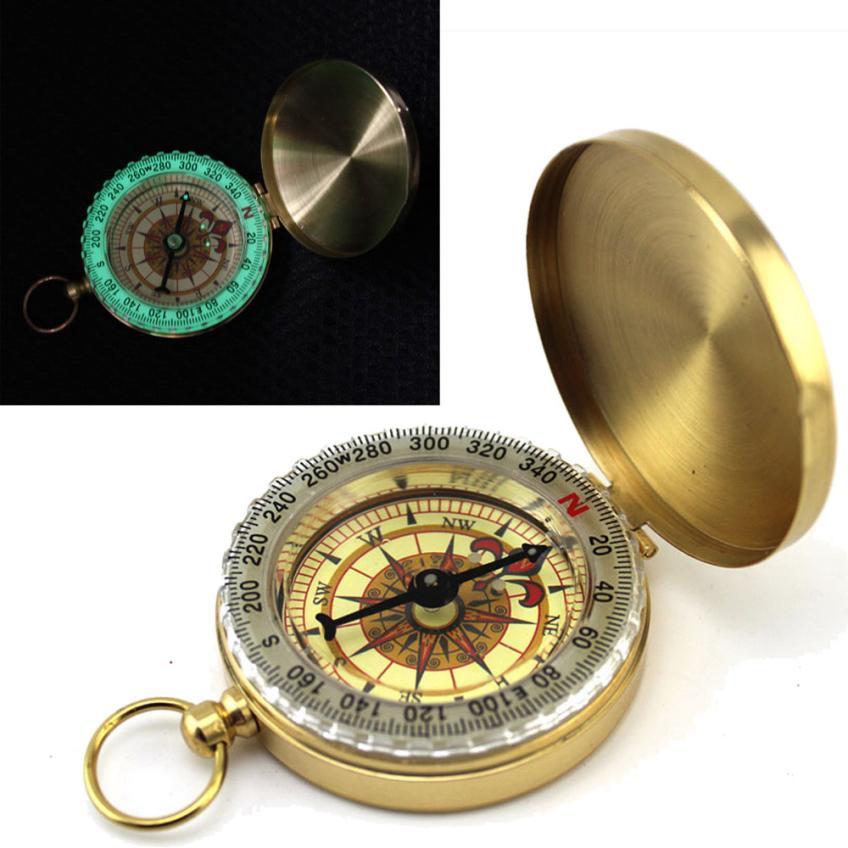 Camping Hiking  Pocket Compass  Brass Watch Style Outdoor Camping Hiking Navigation Compass Ring Keychain #40