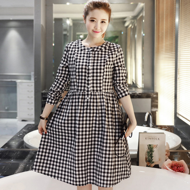2e9b3d2a3f55e Long Plaid Maternity Dress Clothes Casual Pregnancy Wear Vestidos Clothing  Korean Premama Party Dresses For Pregnant