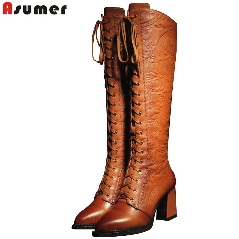 Asumer/2018 г. высокого качества Женские ботинки мотоциклетные сапожки из натуральной и искусственной кожи на высоком каблуке Высокие женские ботинки на шнуровке зимняя обувь