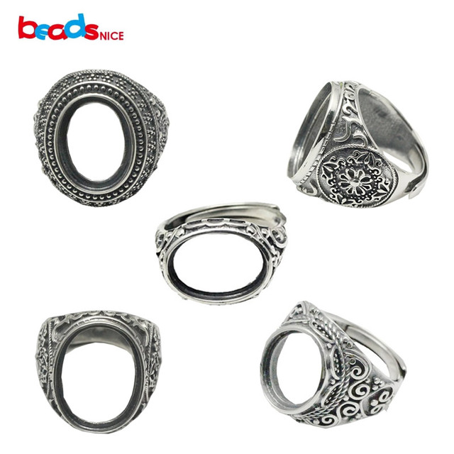 Beadsnice Thailand Silver Rings Setting With Oval Cabochon Base for Man Handmade Jewelry Setting Ring Blank Nice Gift ID 34074