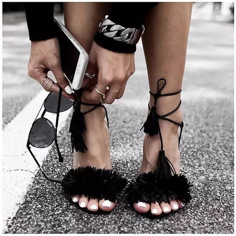 Hot Suede Wild Fringed Thing Gladiator Sandals Women Tassel Ankle Strappy Stiletto High Heels Shoes Woman Lace Up Party Shoes