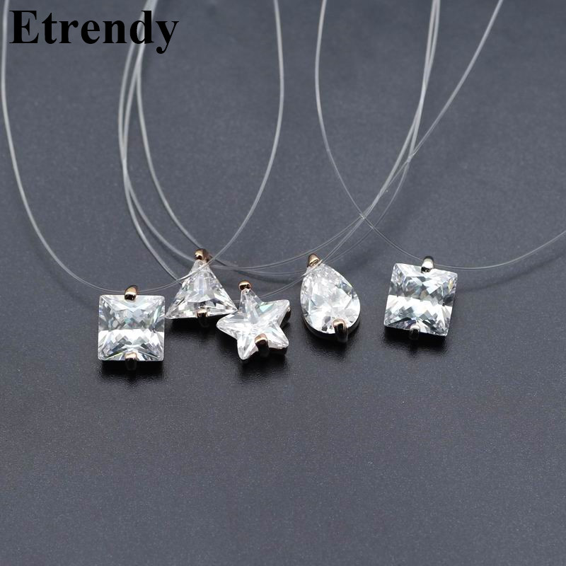 Invisible Transparent Zircon Choker Necklace Women Fashion Jewelry 2018 Cute Gift Star Triangle Water Drop Design Summer Holiday
