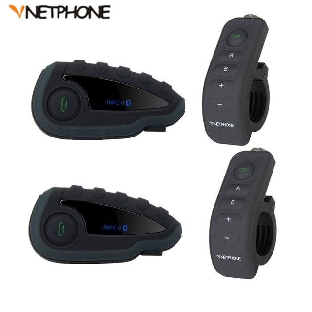 2Pcs V8 BT Interphone Intercom Headset Helmet Motorcycle 5 Rider Bluetooth Communication System Walkie Talkie NFC Remote Control
