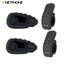 2Pcs V8 BT Interphone Intercom Headset Helmet Motorcycle 5 Rider Bluetooth Communication System Walkie Talkie NFC Remote Control
