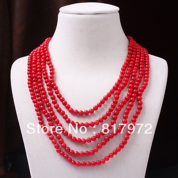 5 Rows 6mm Red Round Bead Coral inlay Carved Flower  Multilayer Style Necklace Woman Fashion Party    &6N0091