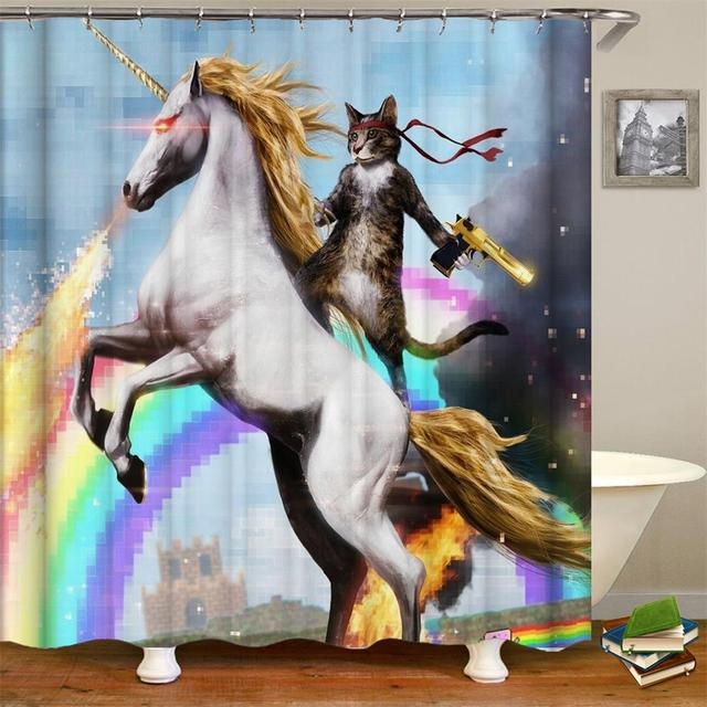 1105999a5fcf4 Aliexpress.com : Buy Cool Animals Funny Kitten Cat Taking A Gun With Riding  A Horse Bathing Decor Bathroom Shower Curtain With Hooks from Reliable  Shower ...