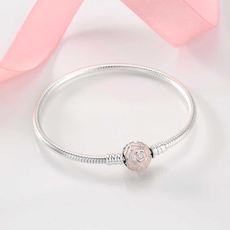 Novo 925 prata esterlina pulseiras forma redonda cobra corrente para as mulheres acessórios moda jóias dia dos namorados presente da mãe