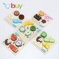 Cortar Frutas Legumes prato de Sobremesa de madeira Cozinha de Brinquedo Crianças Brinquedo Da Cozinha Cozinhar Alimentos Fingir Jogar Puzzle Brinquedos Educativos para Crianças
