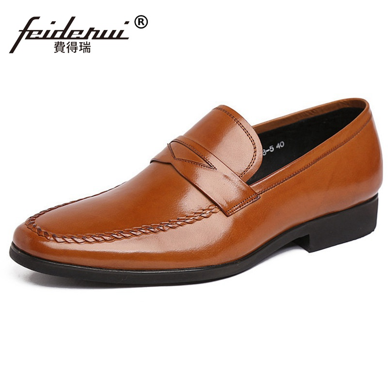 Fashion Round Toe Handmade Man Casual Shoes Genuine Leather Male Slip on Loafers Designer Brand Comfortable Men's Flats TH55 new summer breathable men genuine leather casual shoes slip on fashion handmade shoes man soft comfortable flats lb b0009