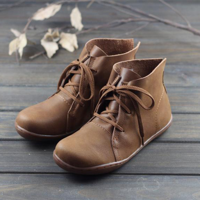 Genuine Cow Leather Genuine Leather Lace-up Boots Shoes For Women Flat With Winter Boots Retro Handmade Winter Round Toe 2019Genuine Cow Leather Genuine Leather Lace-up Boots Shoes For Women Flat With Winter Boots Retro Handmade Winter Round Toe 2019