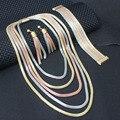 Chapado en oro y rosa composición de la cadena popular Africana sistema de la joyería para las mujeres Nupcial Collar Pendientes Pulsera Set