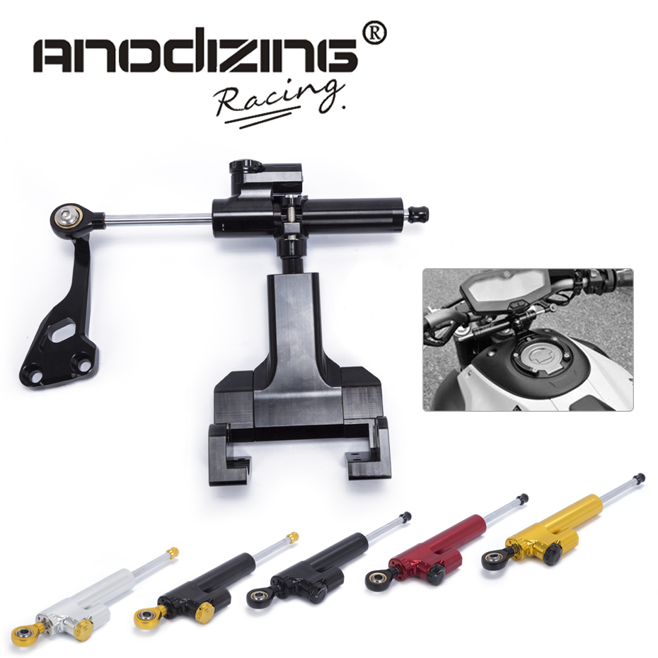 Motorcycle CNC Steering Damper Stabilizerlinear Reversed Safety Control with Bracket kit for YAMAHA MT-07 FZ-07 2014-2017