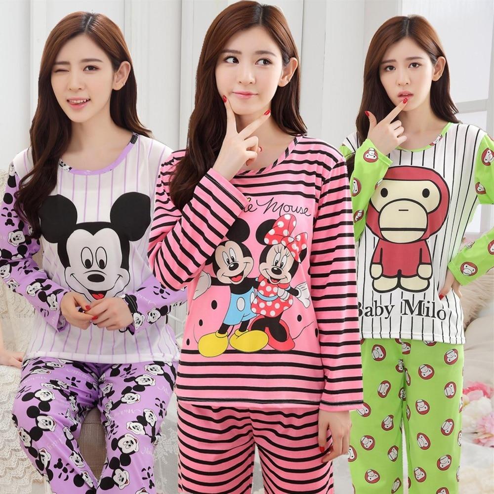 New 2018 spring autumn long sleeved   pajamas     set   for women modal thin silk   pajamas   Home Furnishing clothing free shipping