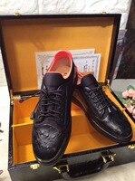 Горячая Новая мода из натуральной кожи страуса мужская обувь, прочный soild кожи страуса для отдыха модная мужская обувь черный цвет