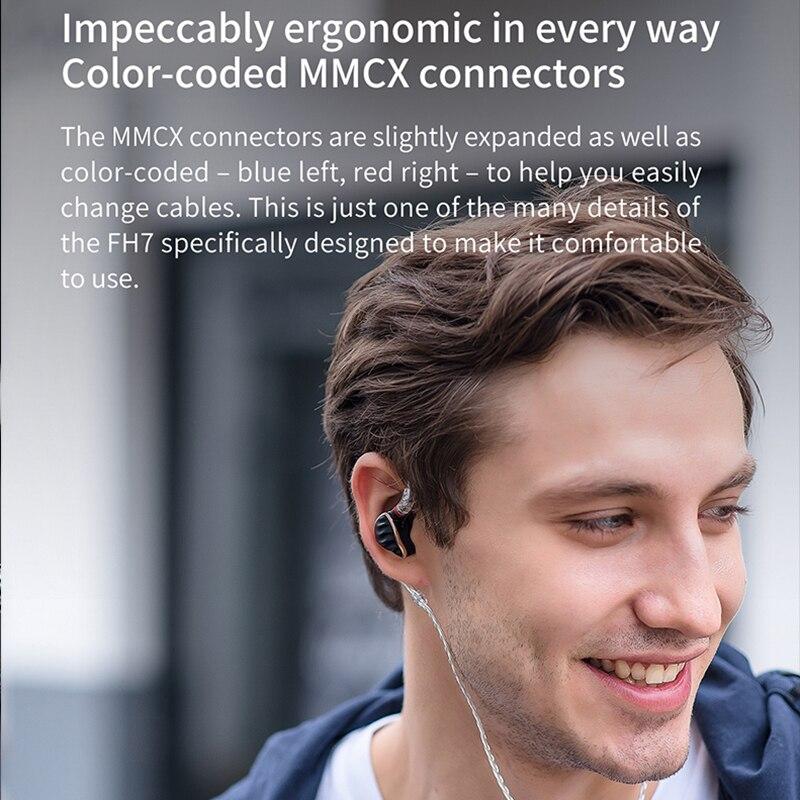 FiiO FH7 HiFi Audio Hi-Res Beryllium PVD 5Driver (4 Knowles BA + 1DD) Hybrid Earphone with MMCX Detachable Cable