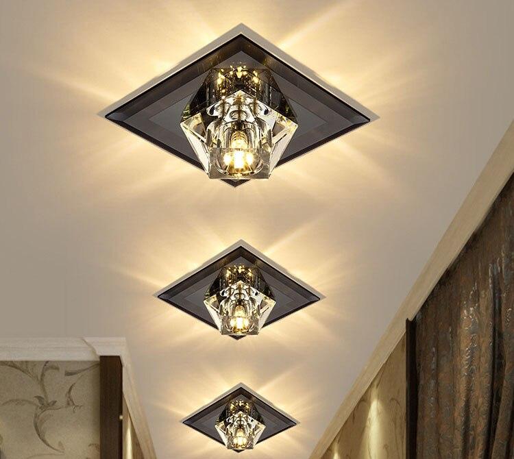 luz teto corredor foyer recessed teto montado espelho lâmpada do teto vidro