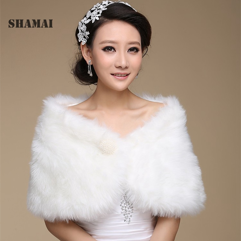SHAMAI Free Shipping Women Winter Sleeveless Cheap Pearl Bridal Wraps Warm Fur Boleros Bridal Shrug Stole Evening Party Coat
