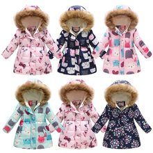 2019 New Girls Winter Flower Coat Fur Collar Hooded Down Jacket With Pocket Thickening Cotton Outerwear Children Warm Jacket недорого