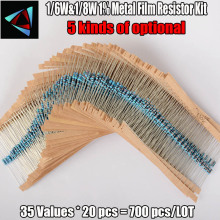 Free Shipping 1/6W 1/8W 122valuesx20pcs=2440pcs 0.33R - 4.7M 1% Metal Film Resistor Assorted Kit Resistor Pack