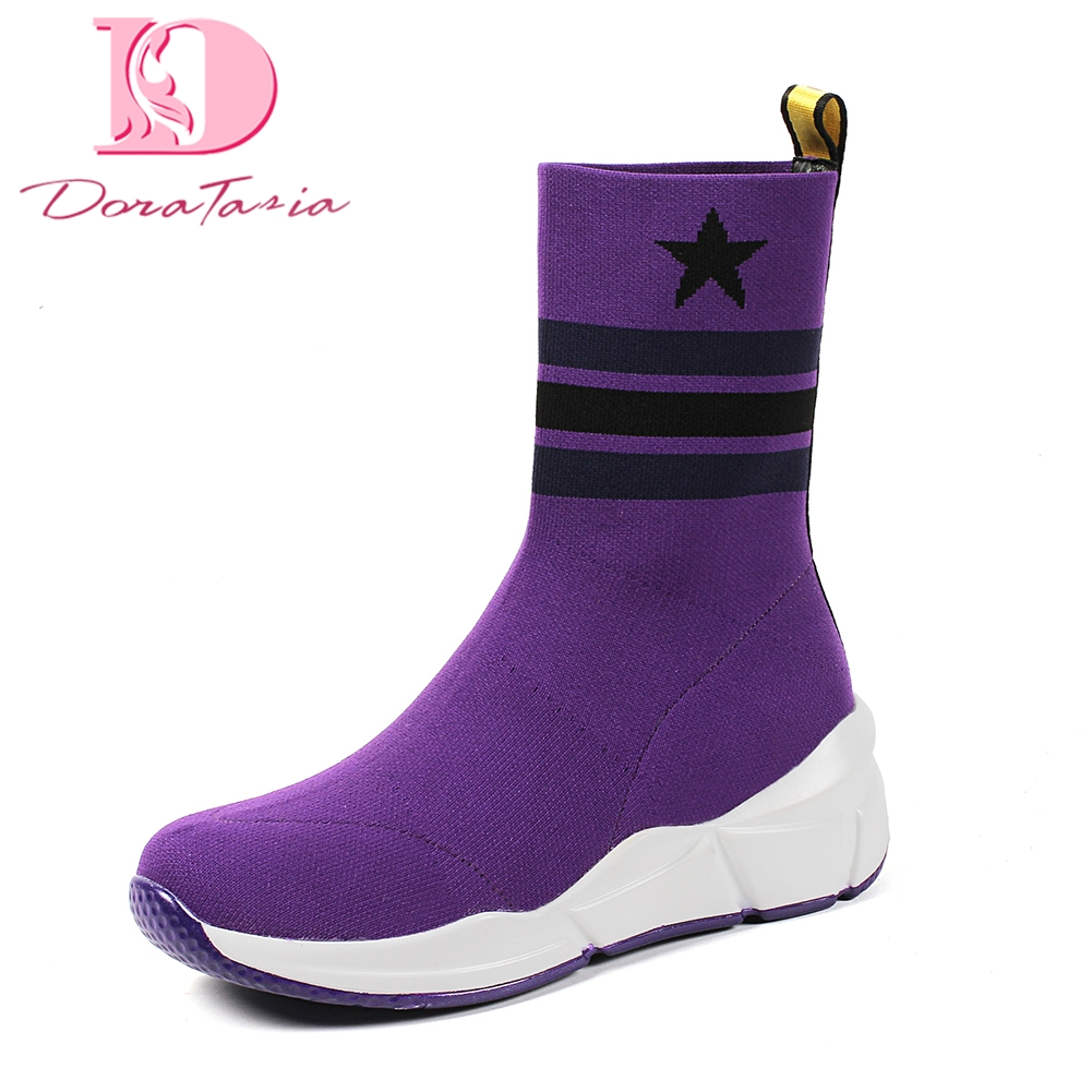 DoraTasia Brand New High Quality knitting Increasing Heel Slip On sneakers Shoes Woman Boots Hot Sale Mid Calf Boots Woman Shoes doratasia 2018 lace up black white women boots woman shoes comfort flat heel wholesale hot sale mid calf boots shoes woman