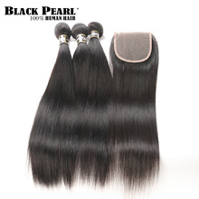 Black Pearl Straight Hair Bundles Med Lukking Non Remy Human Hair 3 Bundles With Closure Peruvian Hair Bundles With Closure