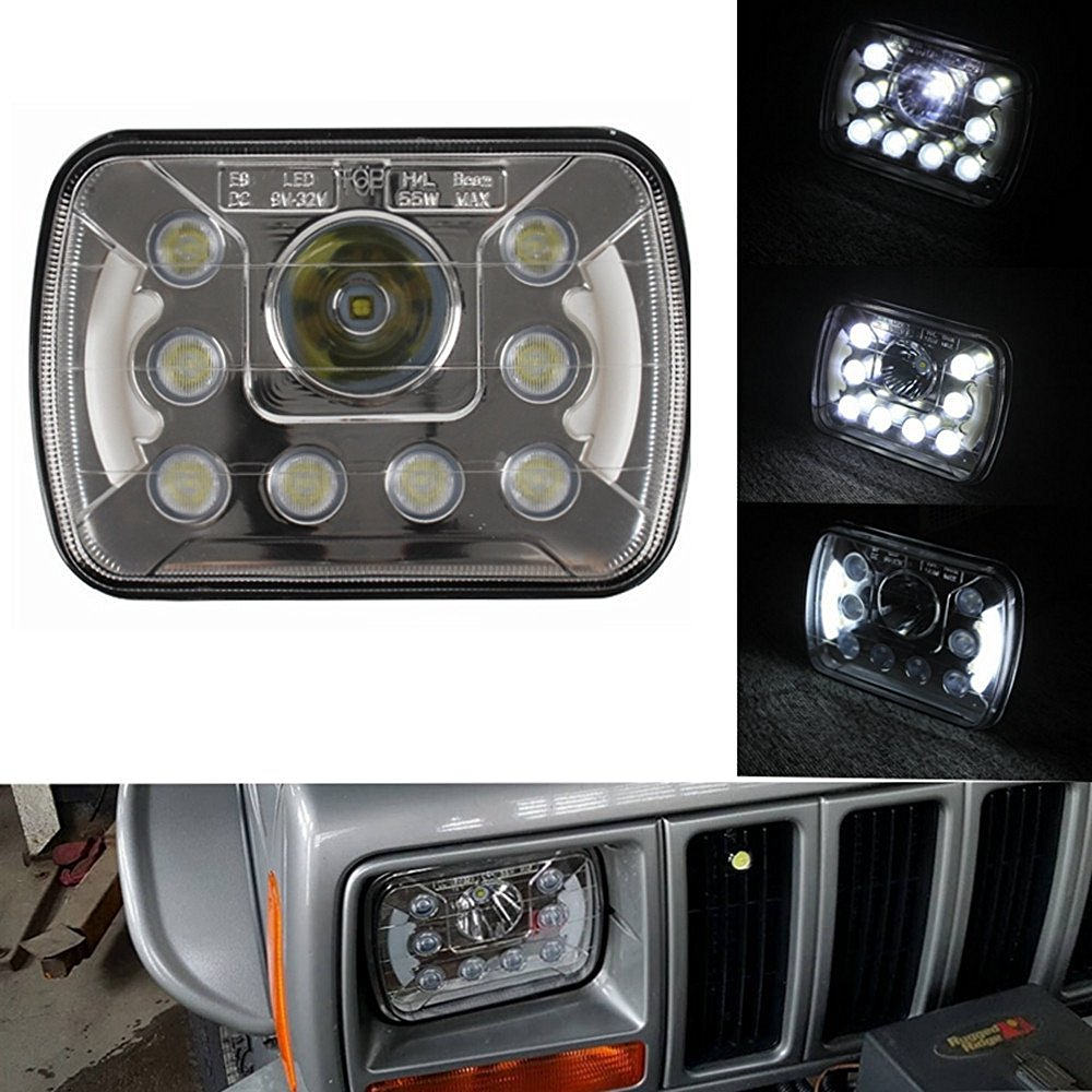 Pair 5''x7'' Inch High Low Beam Led Headlights 55W For Jeep Wrangler YJ Cherokee XJ Trucks 4X4 Offroad With Angel Eyes DRL 5 x7 6 x7 high low beam led headlights for jeep wrangler yj cherokee xj h6054 h5054 h6054ll 69822 6052 6053 with angel eye