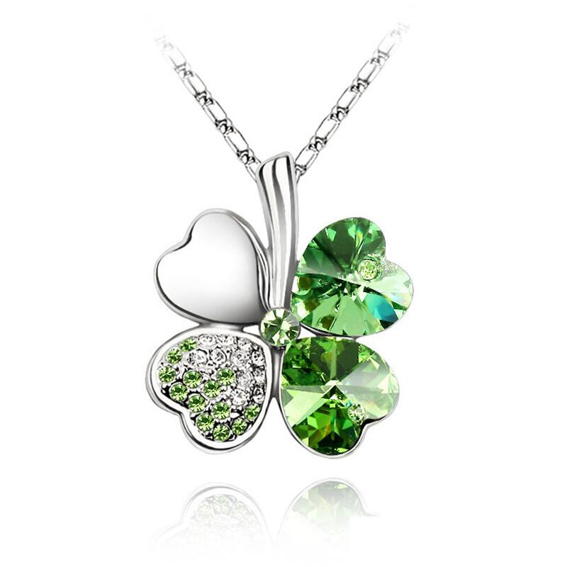 Austrian Crystal 4 four Leaf Leaves Clover pendant necklaces quality fashion jewelry free drop shipping charms women accessories(China)